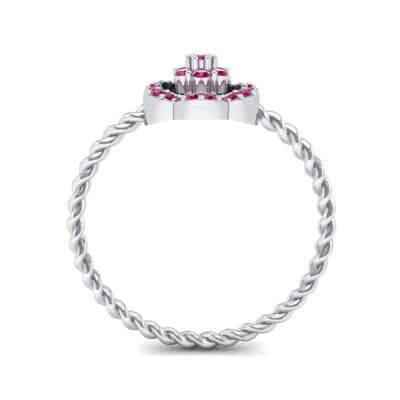 Halo Flower Ruby Cluster Ring (0.17 CTW) Side View