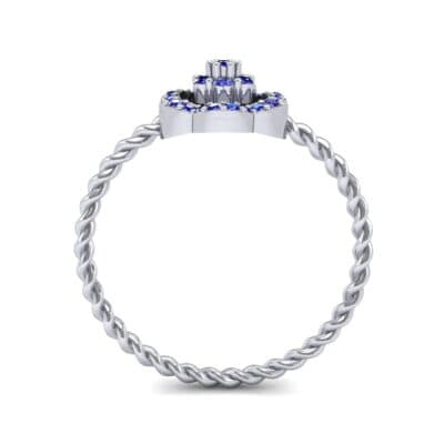Halo Flower Blue Sapphire Cluster Ring (0.17 CTW) Side View