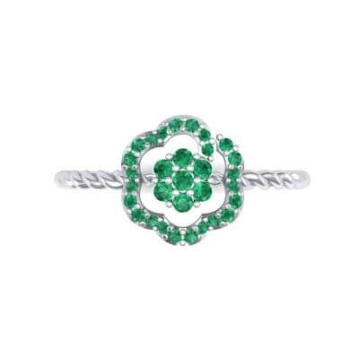Halo Flower Emerald Cluster Ring (0.17 CTW) Top Flat View