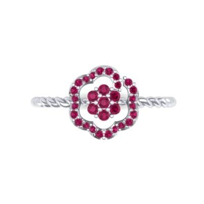 Halo Flower Ruby Cluster Ring (0.17 CTW) Top Flat View