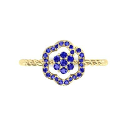Halo Flower Blue Sapphire Cluster Ring (0.17 CTW) Top Flat View