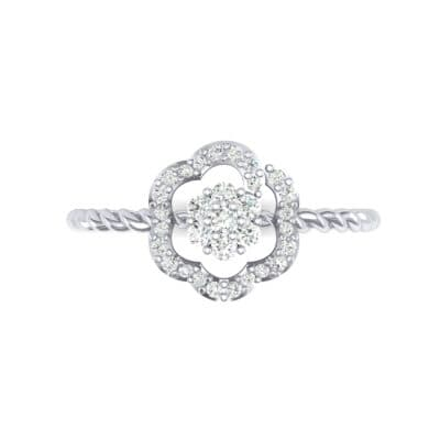 Halo Flower Diamond Cluster Ring (0.17 CTW) Top Flat View