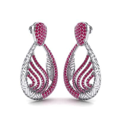 Dunes Pave Ruby Drop Earrings (1.3 CTW) Perspective View