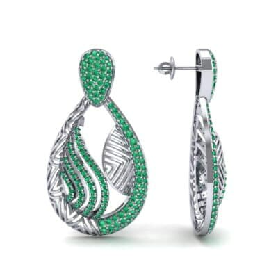 Dunes Pave Emerald Drop Earrings (1.3 CTW) Top Dynamic View