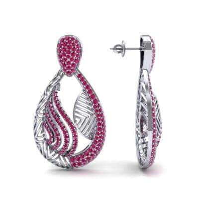 Dunes Pave Ruby Drop Earrings (1.3 CTW) Top Dynamic View