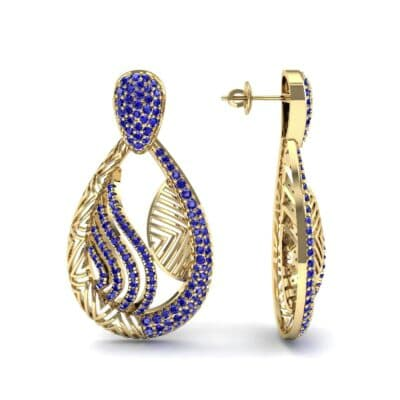Dunes Pave Blue Sapphire Drop Earrings (1.3 CTW) Top Dynamic View