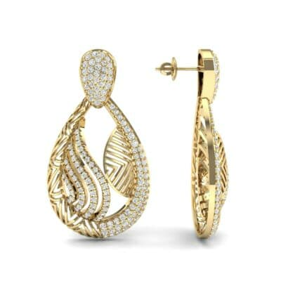 Dunes Pave Diamond Drop Earrings (1.3 CTW) Top Dynamic View