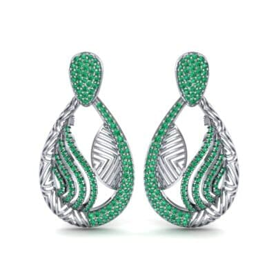 Dunes Pave Emerald Drop Earrings (1.3 CTW) Side View