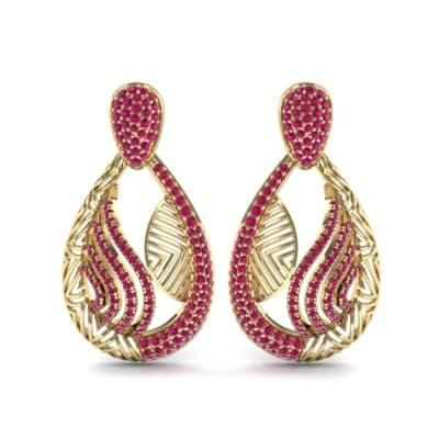 Dunes Pave Ruby Drop Earrings (1.3 CTW) Side View