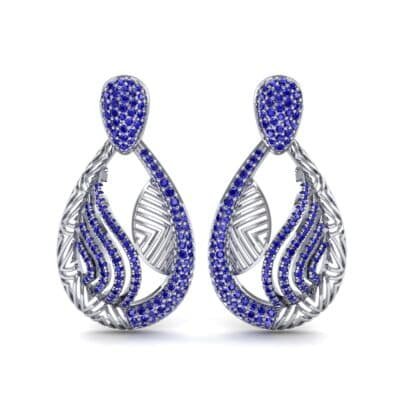 Dunes Pave Blue Sapphire Drop Earrings (1.3 CTW) Side View