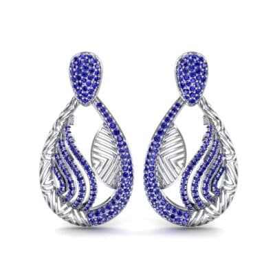 Dunes Pave Blue Sapphire Drop Earrings (1.3 CTW) Side View
