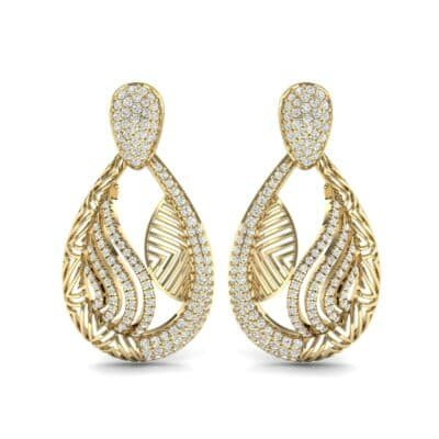 Dunes Pave Diamond Drop Earrings (1.3 CTW) Side View