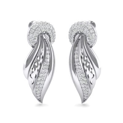 Pave Wing Diamond Drop Earrings (0.59 CTW) Perspective View