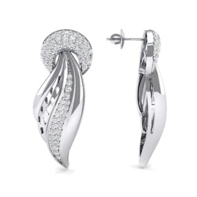 Pave Wing Diamond Drop Earrings (0.59 CTW) Top Dynamic View