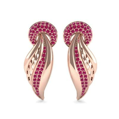 Pave Wing Ruby Drop Earrings (0.59 CTW) Side View