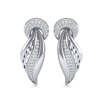 Pave Wing Diamond Drop Earrings (0.59 CTW) Side View