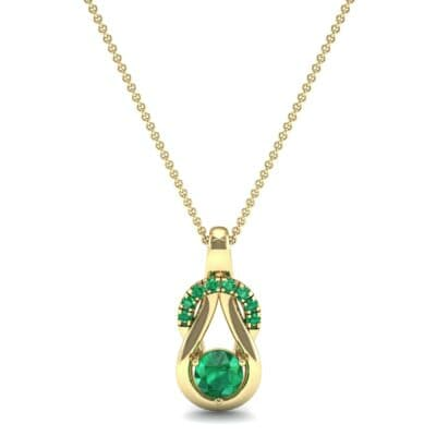 Pave Knot Emerald Solitaire Pendant (0.68 CTW) Top Dynamic View