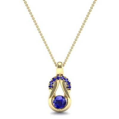 Pave Knot Blue Sapphire Solitaire Pendant (0.68 CTW) Top Dynamic View