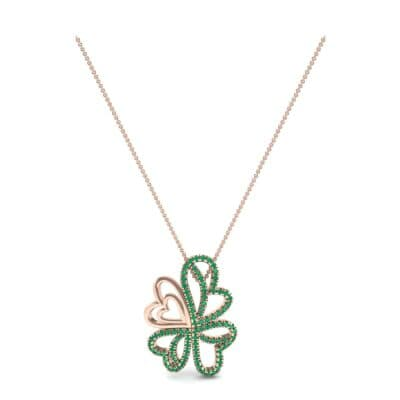 Clover Hearts Emerald Pendant (1.05 CTW) Perspective View