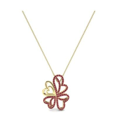 Clover Hearts Ruby Pendant (1.05 CTW) Perspective View