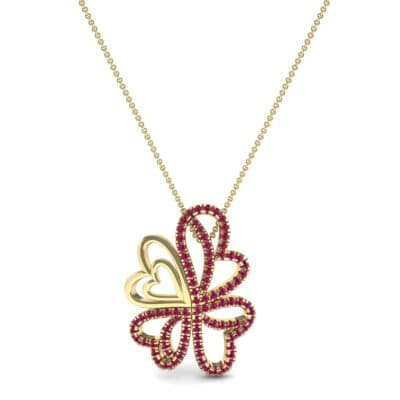 Clover Hearts Ruby Pendant (1.05 CTW) Top Dynamic View
