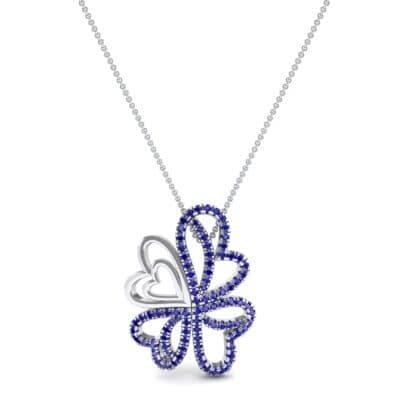 Clover Hearts Blue Sapphire Pendant (1.05 CTW) Top Dynamic View