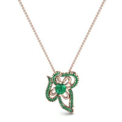Petals Pave Emerald Pendant (0.73 CTW) Top Dynamic View