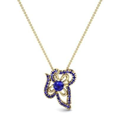 Petals Pave Blue Sapphire Pendant (0.73 CTW) Top Dynamic View
