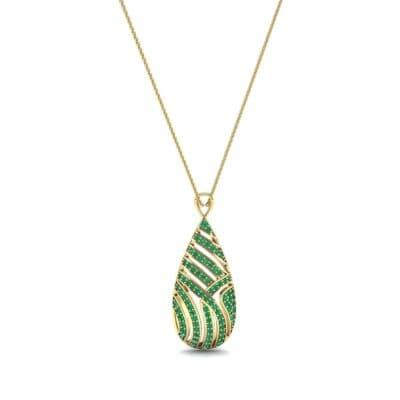 Teardrop Swirl Emerald Pendant (0.86 CTW) Perspective View
