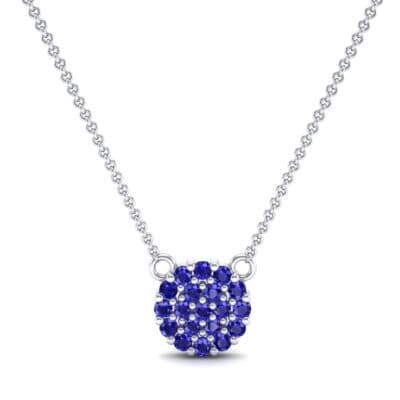 Pave Circle Blue Sapphire Pendant (0.38 CTW) Top Dynamic View