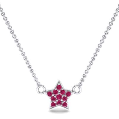 Pave Star Ruby Pendant (0.135 CTW) Top Dynamic View