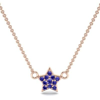 Pave Star Blue Sapphire Pendant (0.135 CTW) Top Dynamic View