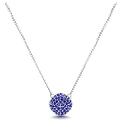 Pave Tilted Cushion Blue Sapphire Pendant (0.9 CTW) Perspective View
