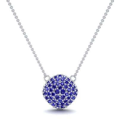 Pave Tilted Cushion Blue Sapphire Pendant (0.9 CTW) Top Dynamic View