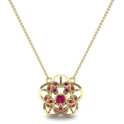 Cut Out Flower Ruby Pendant (0.49 CTW) Top Dynamic View