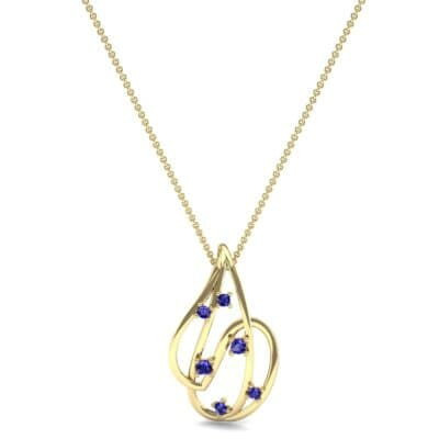 Swirl Prong-Set Blue Sapphire Pendant (0.28 CTW) Top Dynamic View