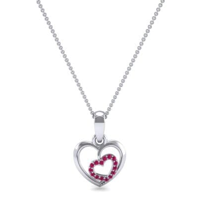 Nested Heart Ruby Pendant (0.15 CTW) Top Dynamic View
