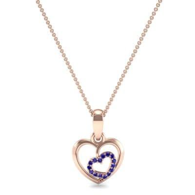 Nested Heart Blue Sapphire Pendant (0.15 CTW) Top Dynamic View