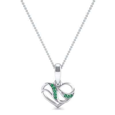 Flowing Heart Emerald Pendant (0.09 CTW) Top Dynamic View