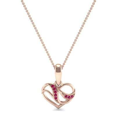 Flowing Heart Ruby Pendant (0.09 CTW) Top Dynamic View