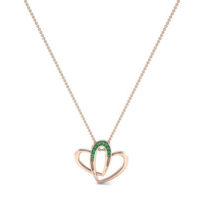 Interlocking Heart Emerald Pendant (0.09 CTW) Perspective View