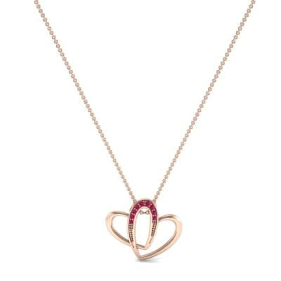 Interlocking Heart Ruby Pendant (0.09 CTW) Perspective View