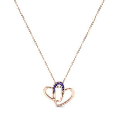 Interlocking Heart Blue Sapphire Pendant (0.09 CTW) Perspective View
