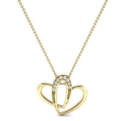 Interlocking Heart Diamond Pendant (0.06 CTW) Top Dynamic View