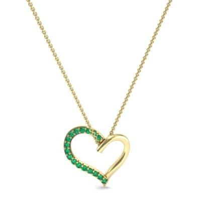 Half-Pave Heart Emerald Pendant (0.26 CTW) Perspective View