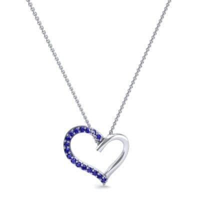 Half-Pave Heart Blue Sapphire Pendant (0.26 CTW) Perspective View