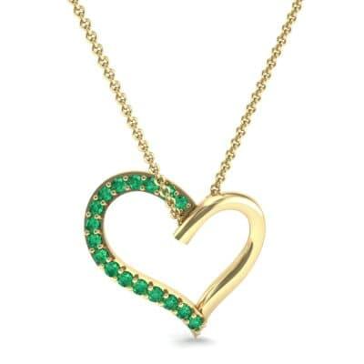 Half-Pave Heart Emerald Pendant (0.26 CTW) Top Dynamic View