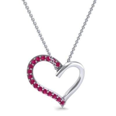 Half-Pave Heart Ruby Pendant (0.26 CTW) Top Dynamic View