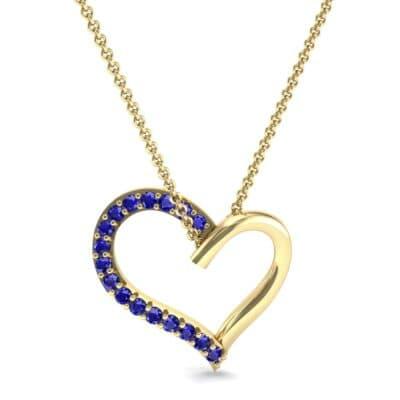 Half-Pave Heart Blue Sapphire Pendant (0.26 CTW) Top Dynamic View