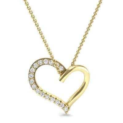 Half-Pave Heart Diamond Pendant (0.26 CTW) Top Dynamic View